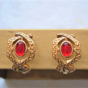 Simulated Ruby Avon Classic Elegance Clip Earrings